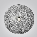 Linen Wire Globe Pendant In Country Style 1-light Black Colored