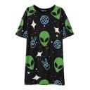 Alien Star Print Round Neck Short Sleeve Tunic T-Shirt