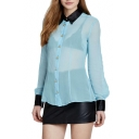 Blue Sheer Chiffon Black Collar Long Sleeve Blouse
