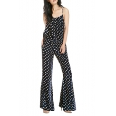 Polka Dot Ruched Gathered Waist Flare Legs Velvet Jumpsuits