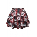 Merry Christmas Snowman Print Pleated Mini Skirt