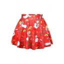 Hot Christmas Party Theme Print Pleated Mini Skirt