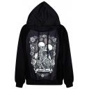 Kissing Skeleton Couple Print Black Hoodie
