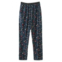 Elastic Waist Multicolor Star Print Loose Pants