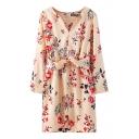 Wide Belt V-Neck Long Sleeve Chiffon Dress