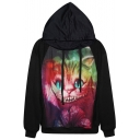 Wild Cat Print Street Style Hoodie with Drawstring Front