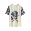 Lovely Cartoon Print Round Neck Short Sleeve Tee