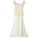 Lace Cutwork Cover Top Sleeveless Longline Beige Dress