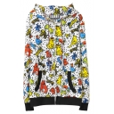 Colorful Little Monster Print White Zipper Fly Hooded Crop Coat