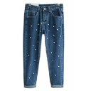 Mid Wash Beaded Skinny Jeans with Zip Fly