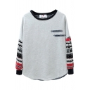 Stripe Color Block Drop Knit Sleeve Sweatshirt