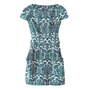 Blue Paisley Print Round Neck Cap Sleeve Zippered Belted Dress
