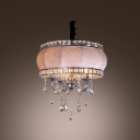 Drum Shade Chrome Finished Arms Hanging Crystal Drops Chandelier Pendant