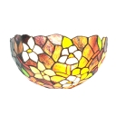 Delicate Colorful Flowers Motif Single Light Tiffany Style Black Wallwasher