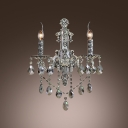 Unparalleled Metal Frame Wall Sconce Featured Clear Crystal Droplets and Sleek Strolling Arm