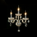 Splendid Unique Design Three Light Crystal Wall Sconce Offers Luxury Embellishment