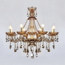 Beautiful and Elegant Waterfall Crystal Chandelier with 6 Candle Light 27.5