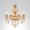 Golden and Elegant  8-Light Crystal Scrolling Arms and Droplets Chandelier Lighting