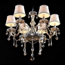 Cream Colored Fabric Bell Shade Champagne  Crystal Strands and Droplets Cascades Chandelier