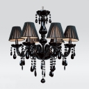 Jet Black Silken Shade and Curved Crystal Glass Arms 5-Light Mysterious Chandelier
