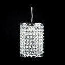 Modern Chrome Finished Cylindrical Shape and Sparkling Crystal Beaded Mini Pendant