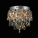 Generous Flushmount Ceiling Fixturewith  Strands of Clear Crystal Create Exquisite Llighting Choice to Your Decor