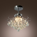 Clear Crystal Balls Cascades Metal Scrolls Semi-Flush Mount  in Contemporary Style