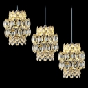 Warm and Chic Amber Crystal Multi-Light Pendant Light Hanging Sparkling Three Lights