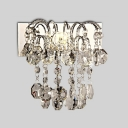 Glamorous Wall Sconce Adorned with Beautiful Strands of Crystal Beads and Graceful Scrolling Arms