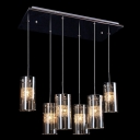 Opulent and Modern Six-light Glass Cluster Chandelier Features Chic Cylinder Shades Filled Clear Crystals