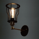 Single Light Adjustable LED Wall Sconce with Cage Shade