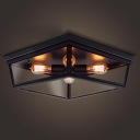 Four Light Black LED Flush Mount Ceiling Light with Glass Shade