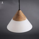 Wood Adorned Creams Glass Shaded Mini Cone Pendant Light