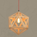 "Natural Style Cage Designer Large Pendant Light In 15.7"" Wide With Red Cord"
