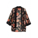 Contrast Trim Gorgeous Red Flower Print 3/4 Sleeve Kimono