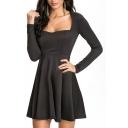 Sweet Style Back Cutout Sweetheart Neck Elastic Black A-line Dress