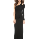 Shoulder Cutout One-Shoulder Style Black Maxi Slim Dress