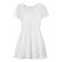 Plain Short Sleeve Net Fitted Fit&Flare Dress