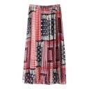 Folk Style Elastic Waist Geometric Print Max Skirt
