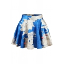 Blue Map Print High Waist Pleated Mini Skirt