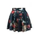 Colorful Floral Print High Waist Pleated Mini Skirt
