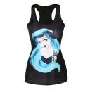 Blue Long Hair Girl Print Black Tanks