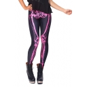 Skeleton Tie Dye Elastic Waist Skinny Pencil Leggings