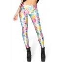 Cartoon Princess Print Spandex Elastic Leggings