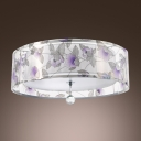 Purple Flowers Pattern Sheer Shade and Clear Crystal Drop Add Elegance to Contemporary Three Light Flush Mount Ceiling Light