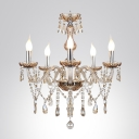 Five Lights Glittering Crystal Chandelier Accented by Crystals for Dining Room