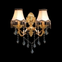 Lavish Wall Sconce Creating Exquisite Embellishment for Home Decor with Elaborate Gold Finish Plate and White Fabric Shades