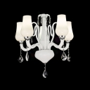 "Amazing 24.4""Wide Modern White Glass-crafted Living Room's Chandelier with Five Lights"