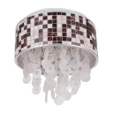 Chic Four Lights Modern Flush Mount Light with Droplets Adorned Clear Crystal Beads