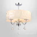 Three-Light Romantic Rose Details Drum Shade Dropling Crystal Balls Mini Chandelier Ceiling Light